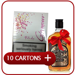 10 Cartons Of Glamour Pink Superslims + Chivas Regal 12 Y.O. Whisky  50CL