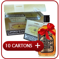 10 Cartons of George Karelia & Son Cigarettes+ Chivas Regal 12 Y.O. Whisky  50CL